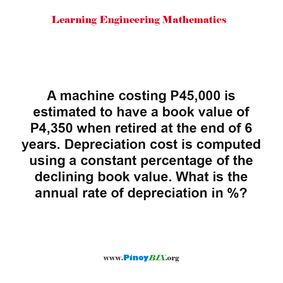 Find the annual rate of depreciation of the machine in percentage