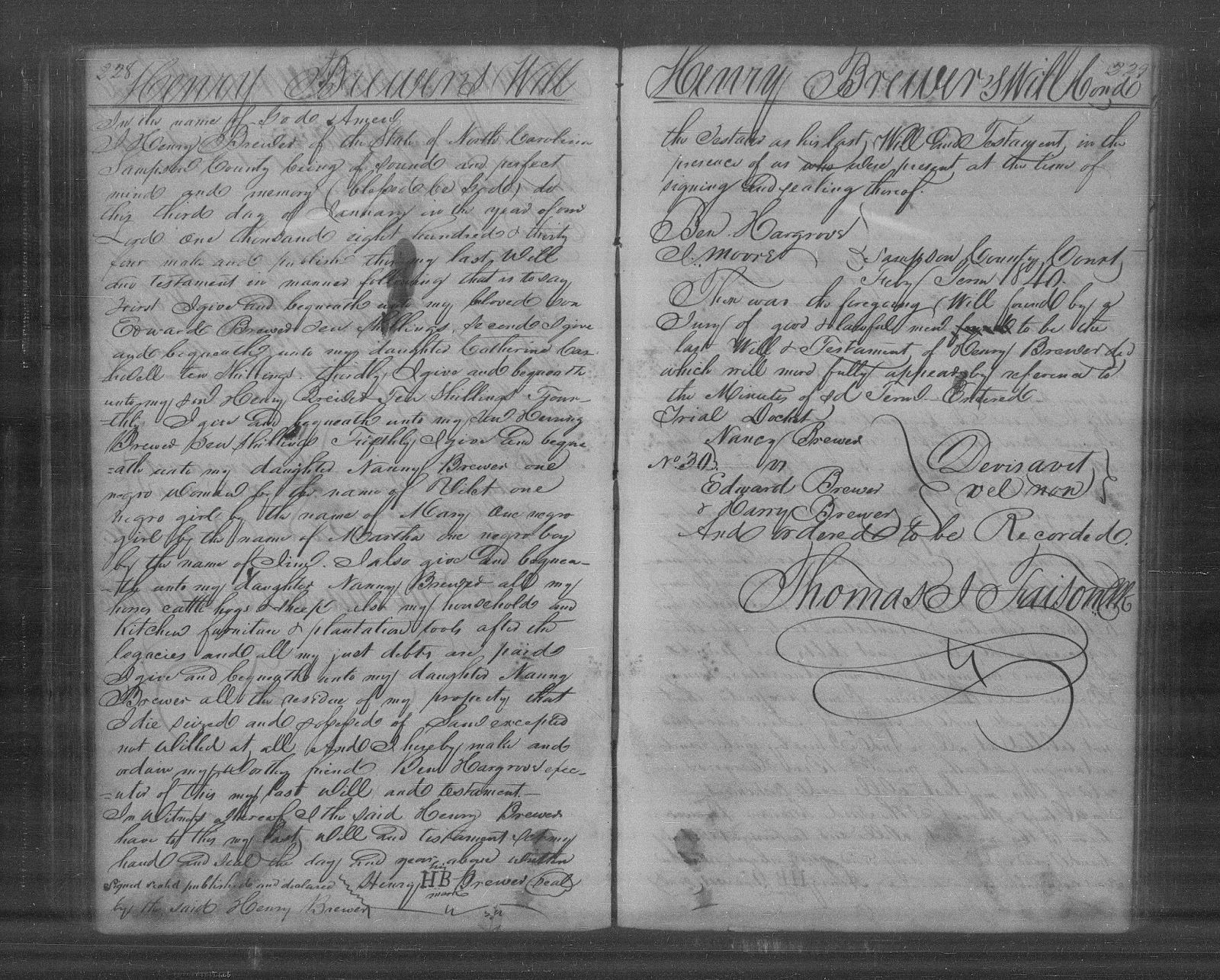 The Will of Henry Brewer of Sampson County, North Carolina