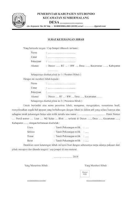 Format Surat Keterangan Hibah