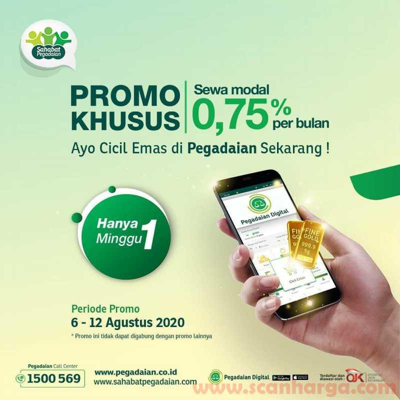 Pegadaian Promo Khusus Sewa Modal 0.75% Per Bulan Periode 6 - 12 Agustus 2020