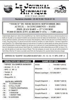 programme quinté Pronostic Mercredi 01/09/2021
