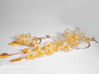 Asymmetric earrings. Semi-transparent. For a wedding.