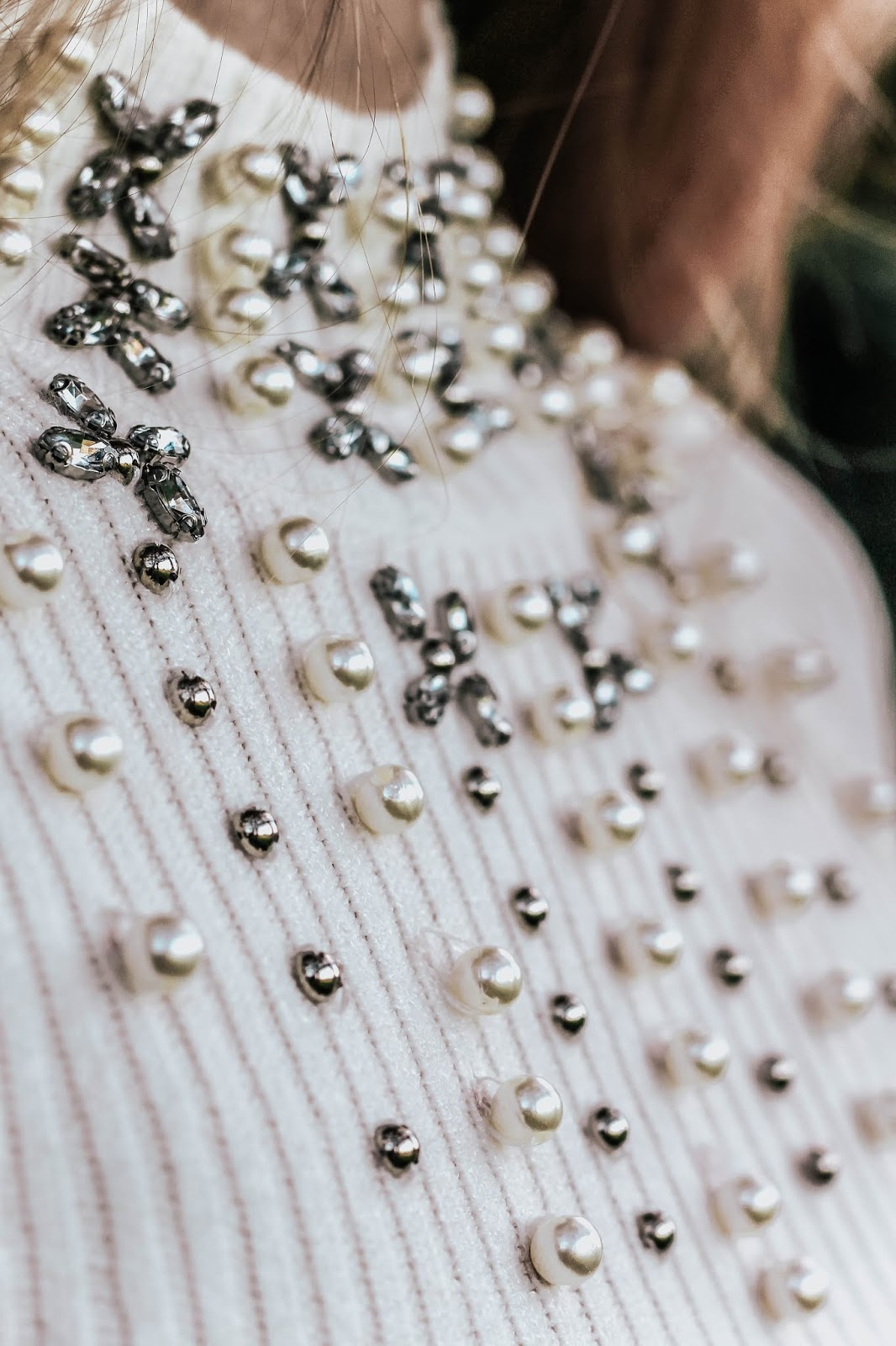 ASOS White Jewel Embellished Long Sleeve Jumper