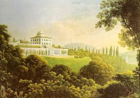 Cagnola's Villa La Rotonda outside the town of Inverigo, captured on canvas