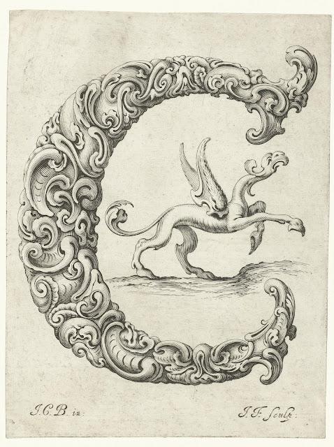 Print of the Capital C engraving from Libellus Novus Elementorum Latinorum by Jeremias Falck after Johann Christian Bierpfaf, c. 1650, Rijksmuseum Collection