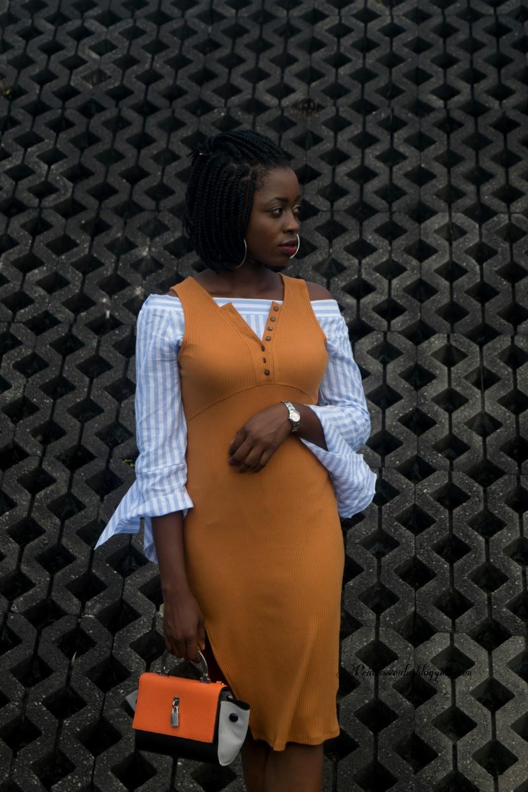 Off shoulder trend,  pencil mustard dress,  a full,  Zara,  chunky heels