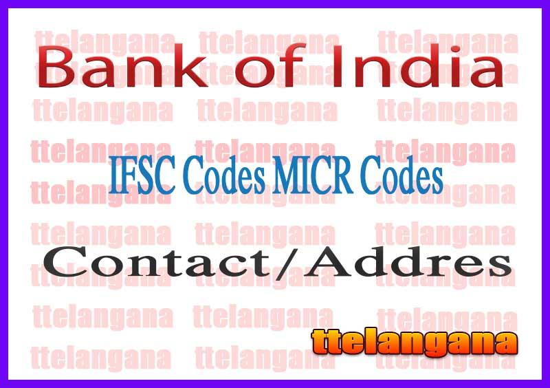 Bank of India IFSC Codes MICR Codes in Navi Mumbai City