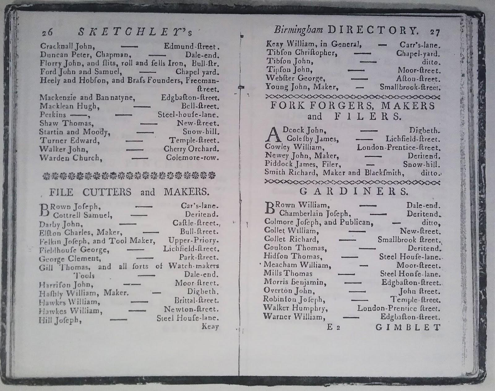 Eighteenth Century Birmingham: 1767 Sketchley Directory