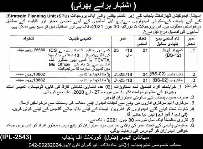 Special Education Department Government of Punjab Latest jobs 2020