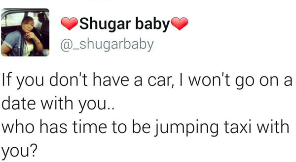 """Twitter user claps back at girl for saying """"I only date guys with cars"""""""