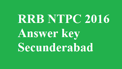 RRB NTPC Answer key Secunderabad
