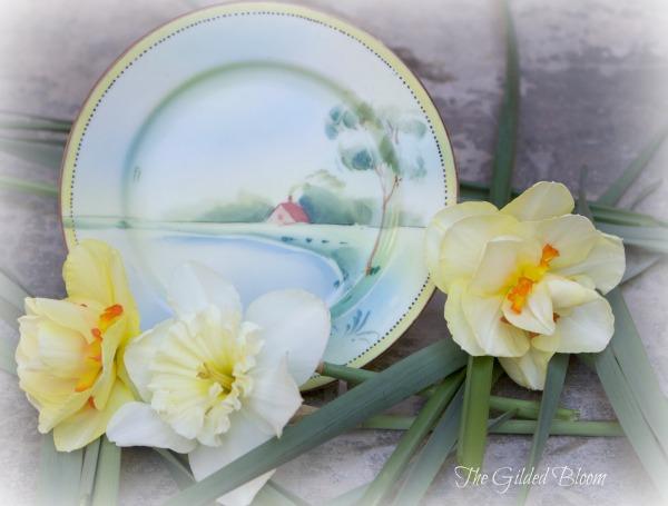 Daffodils and Vintage Porcelain Plate www.gildedbloom.com