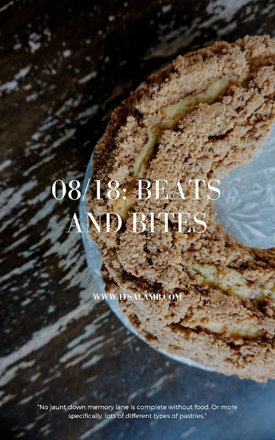 """No jaunt down memory lane is complete without food. Or more specifically, lots of different types of pastries."" Click here to read more, or pin and save for later. #food #playlist #baking #coffeecake"