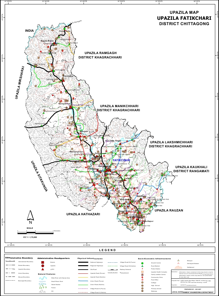 Fatikchari Upazila Map Chittagong District Bangladesh