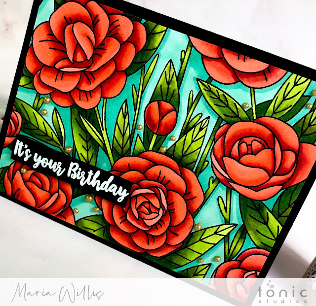 #maria willis, #tonicstudios, #tonicstudiosusa, #tonicstudiosgardenparty, #nuvo, Flora background stamp, nuvoalchol markers, #flowers, #color, #stamp, #ink, #paper, #art, #diy, #handmade, #handmadecards,