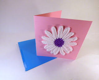 Crochet flower greeting card