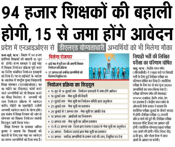 Bihar Teacher Recruitment 2020