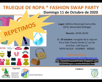 Cartel Intercambio ropa fashion swap party AEA Bosque Animado 2020