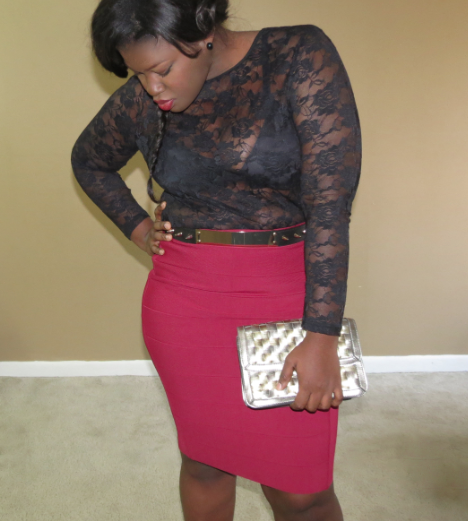 HOW TO WEAR BANDAGE MIDI SKIRT  PLUS SIZE