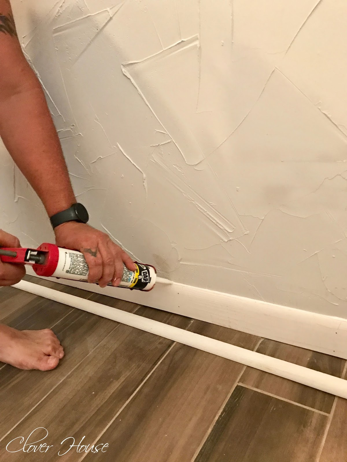Clover house diy perfect baseboards to finish off your baseboards completely you will want to use a white paintable caulk run a very small bead of caulk along all the open gaps doublecrazyfo Image collections