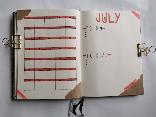 July Bullet Journal set up - monthly overview