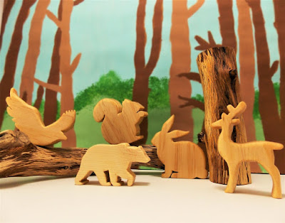 Woodland animals handcrafted in wood