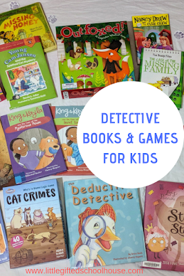 Pinterest picture for detective books and games for kids with book titles and board games of this topic layed out