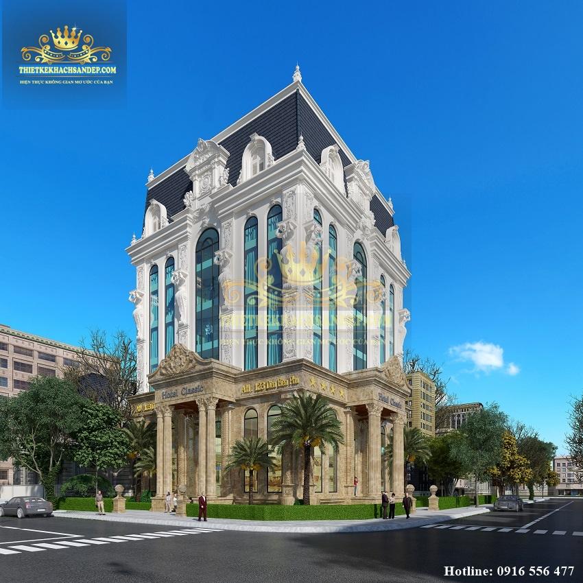 Hình ảnh: Góc nhìn bao quát hai mặt tiền hoàn mỹ của thiết kế khách sạn 3 sao