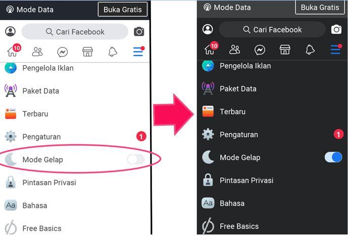 Cara Ubah Tampilan Dark Mode Facebook di HP