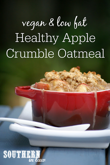 Healthy Single Serve Apple Crumble Baked Oatmeal Recipe - low fat, gluten free, healthy, vegan, egg free, dairy free, clean eating friendly, sugar free breakfast recipes