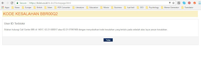 bank bri, user id terblokir, bri internet banking