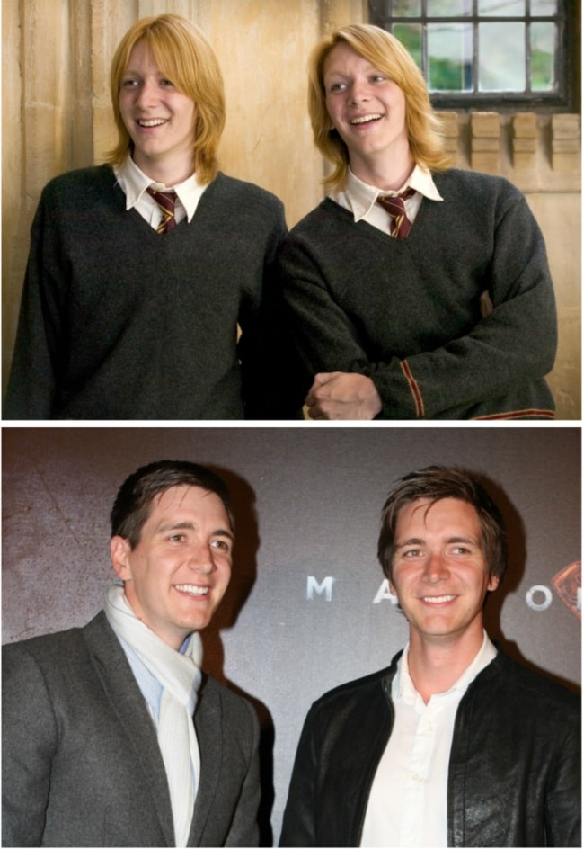 Fred e George Weasley interpretados por James e Oliver Phelps