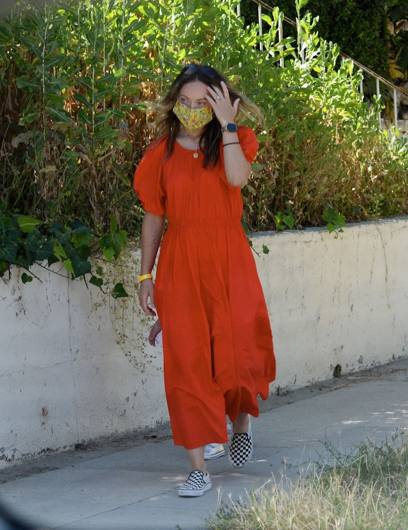 Olivia Wilde Clicked in a Red Dress Out in Los Angeles 18 May -2020