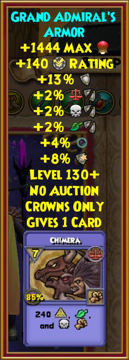 Wizard101 Sinbad Hoard Pack Level 130 Gear
