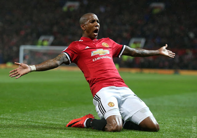 Ashley Young scores twice for Man united vs Watford