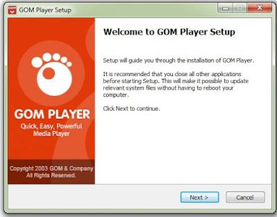instal gom player di windows