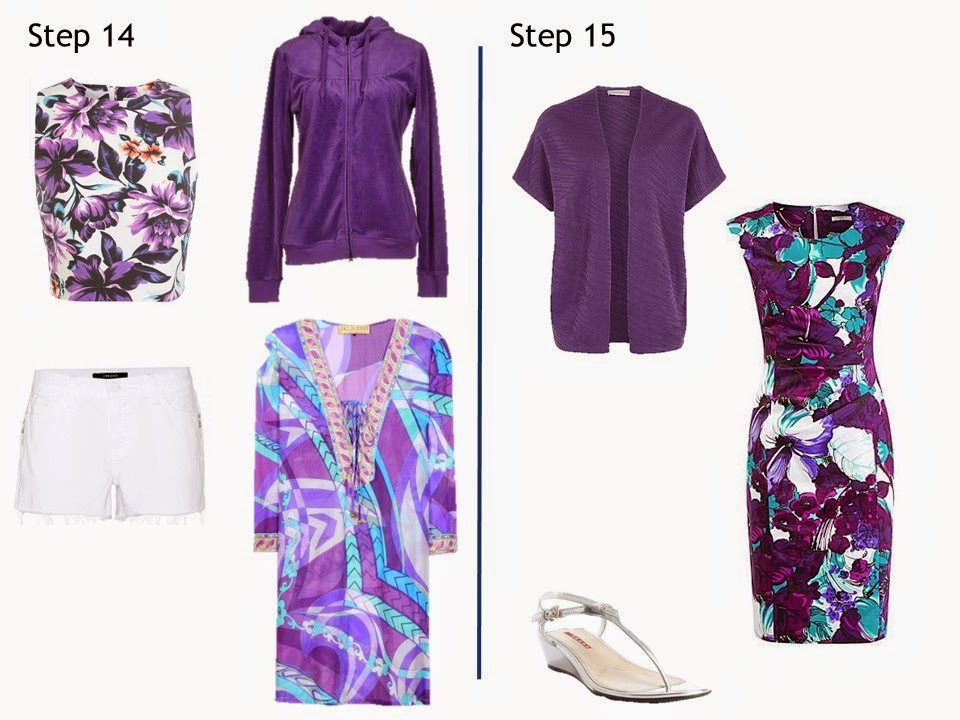 How to build a summer capsule wardrobe from scratch in a navy, white, and purple color palette