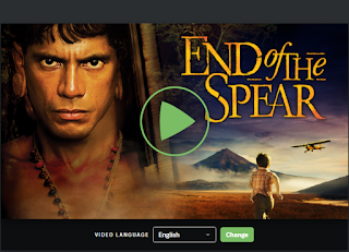 End of the Spear Movie Trailer Screenshot shows  a shirtless glowering actor with short dark hair, dark eyes and bronze skin Link opens in the free movie viewing site in a new tab