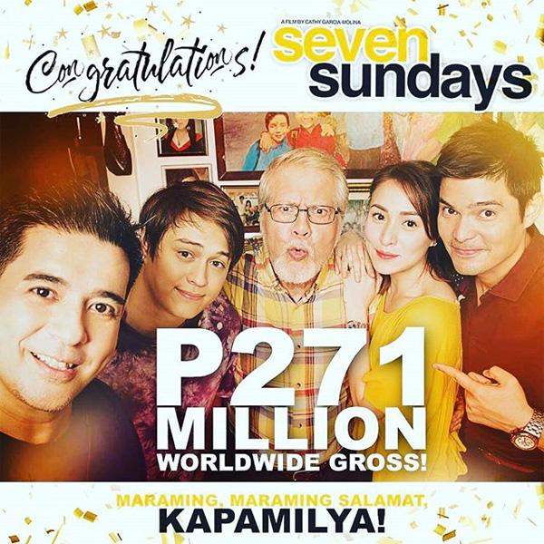 Seven Sundays grosses Php 271 million worldwide