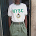 Hlarious Photo of a Corper Putting on Khaki Skirt