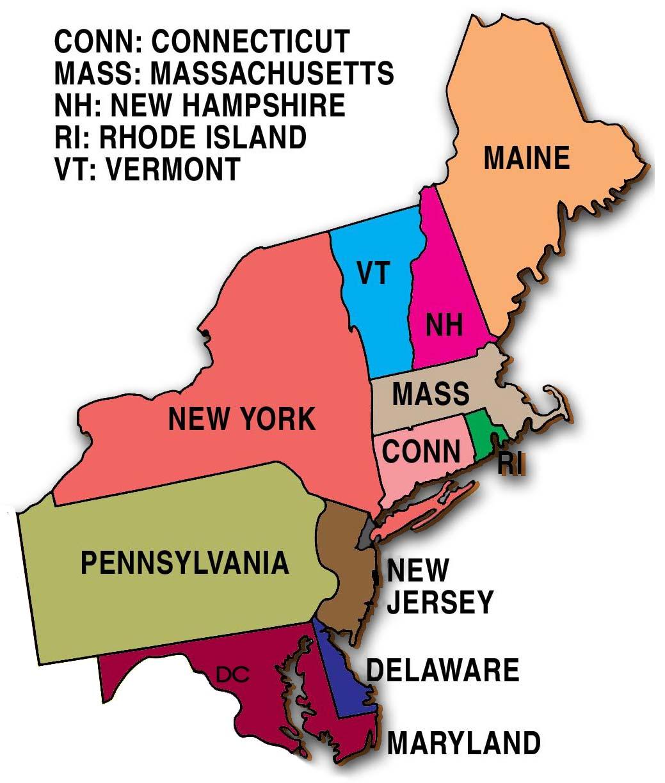 United States Northeast Region Map
