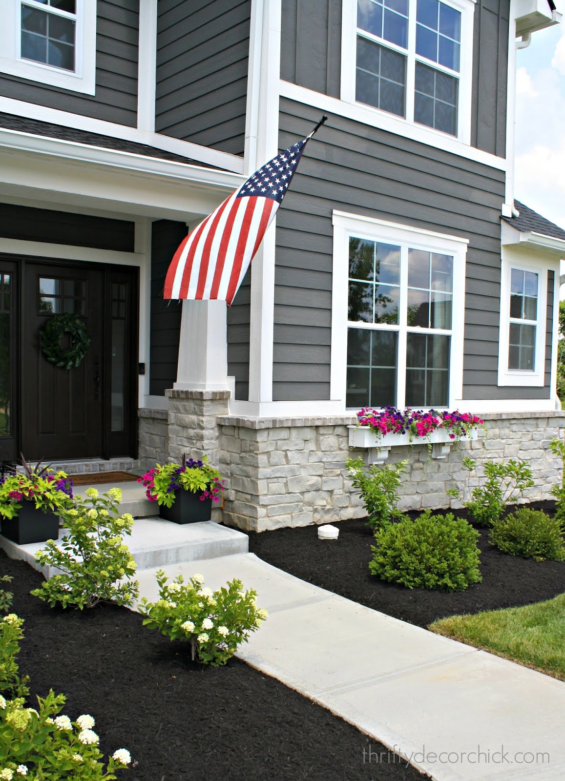 Dark gray house white trim