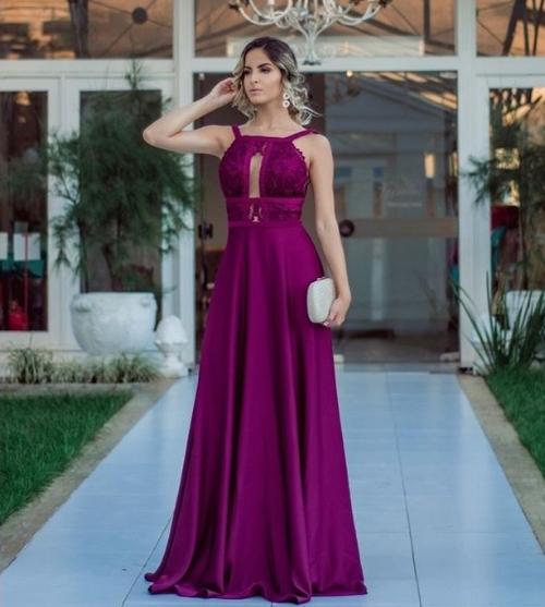 vestido de festa fucsia violeta madrinha