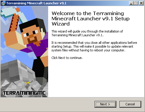 Download Terramining laucher MINECRAFT PC semua versi