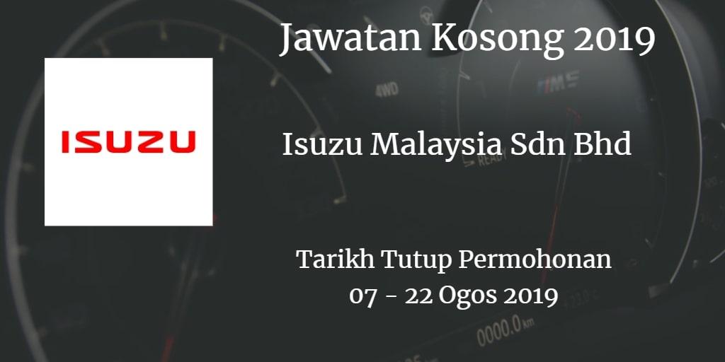 Jawatan Kosong Isuzu Malaysia Sdn Bhd 07 - 22 Ogos 2019