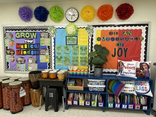 music bulletin board, music growth mindset, classroom library, drum storage, music bulletin board, Bitmoji pillows
