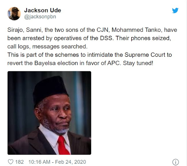 JUST IN: DSS Reportedly Arrest CJN's 2 Sons, Sirajo And Sanni