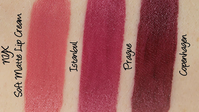 NYX Soft Matte Lip Cream - Istanbul, Prague and Copenhagen Swatches & Review