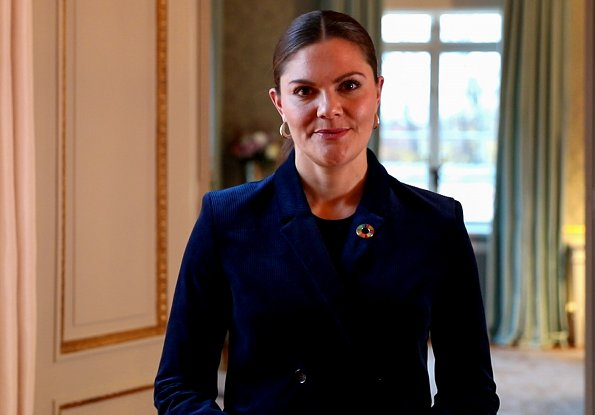Princess Victoria wore a navy-blue suit by Dagmar. House of Dagmar Tuva cord blazer. Professor Claire Kremen