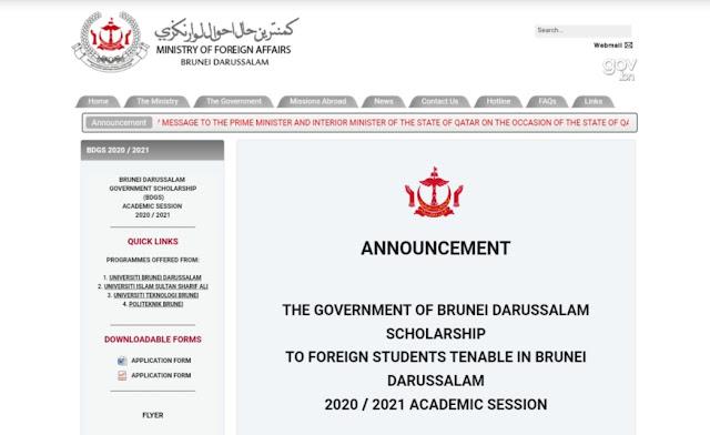 Beasiswa Studi D3, S1 dan S2 Pemerintah Brunei Darussalam Deadline 14 Februari 2020